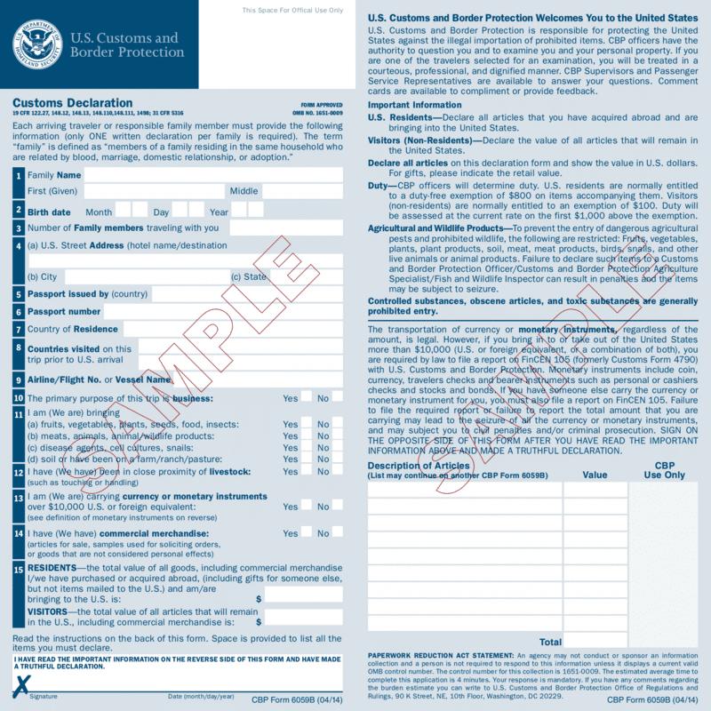 wzor deklaracji celnej USA